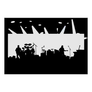 Band On Stage Concert Silhouette B&W Poster