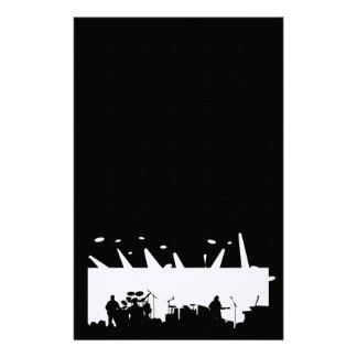 Band On Stage Concert Silhouette B&W Stationery