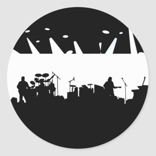 Band On Stage Concert Silhouette B&W Stickers