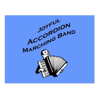 Banda alegre del acordeón postal