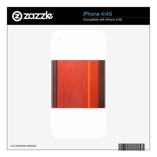 Banda anaranjada fina (expresionismo mínimo geomét iPhone 4 calcomanías