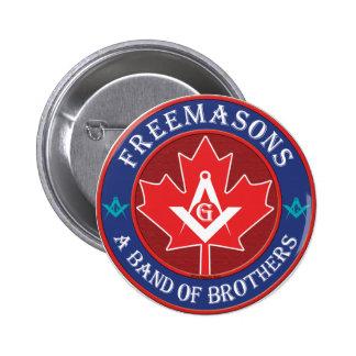Banda canadiense de los hermanos masónicos pin redondo de 2 pulgadas