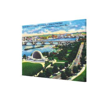 Banda conmemorativa Shell, el río Charles de la po Impresión En Tela