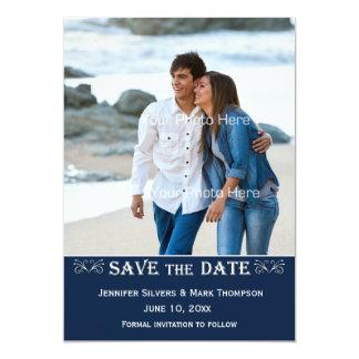 """Banda de azules marinos, reserva de la foto la invitación 5"""" x 7"""""""
