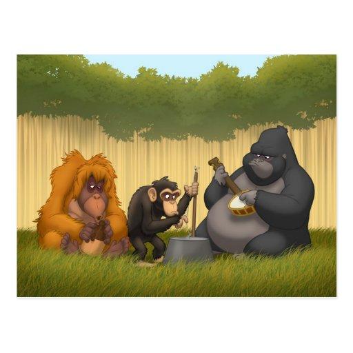 Banda de jarro de la postal de los monos