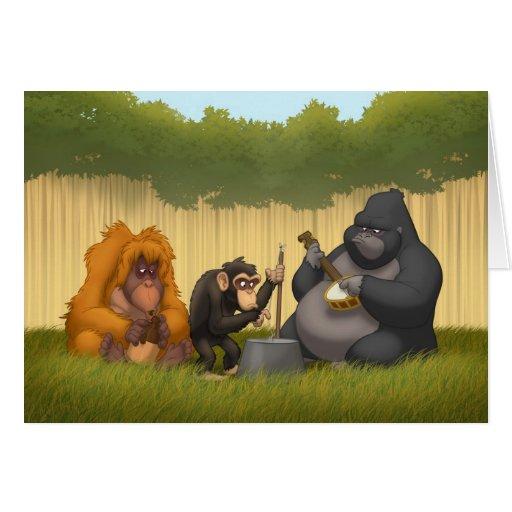Banda de jarro de la tarjeta de nota de los monos
