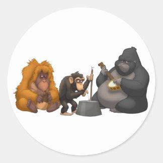 Banda de jarro de los pegatinas de los monos pegatina redonda