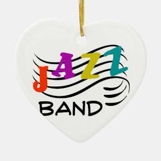 Banda de jazz adorno navideño de cerámica en forma de corazón
