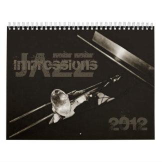 Banda de jazz de la música de los músicos de las calendarios de pared