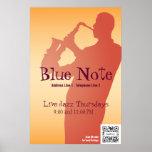 Banda de jazz del acontecimiento de la plantilla d impresiones