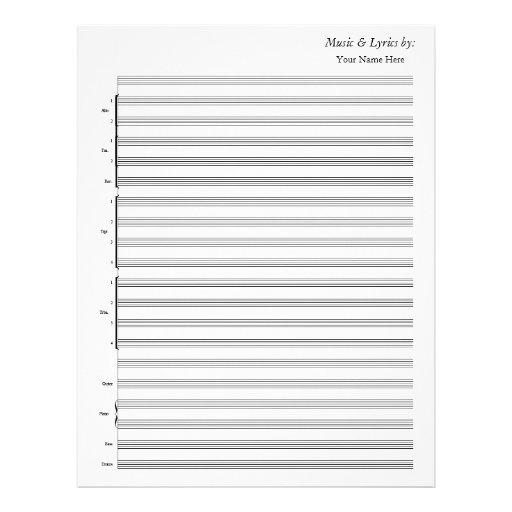 Banda de jazz en blanco de la partitura membrete a diseño