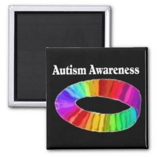 Banda de la conciencia del autismo imán cuadrado