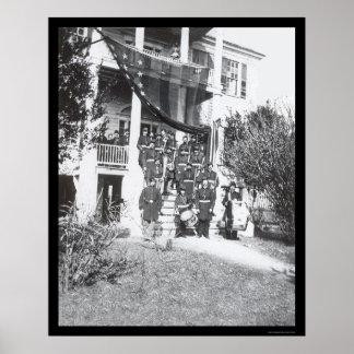 Banda de la música en Headquarters 1864 de general Póster
