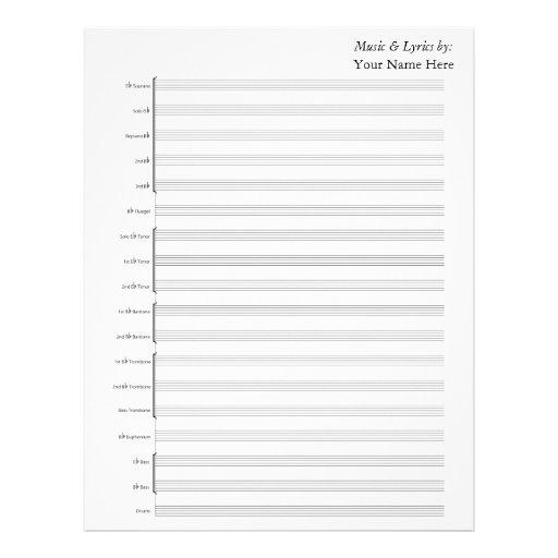 Banda de metales en blanco de la partitura plantilla de membrete
