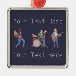 Banda de rock de encargo del pixel adorno navideño cuadrado de metal