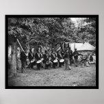 Banda de tambores en Bealeton, VA 1863 Póster