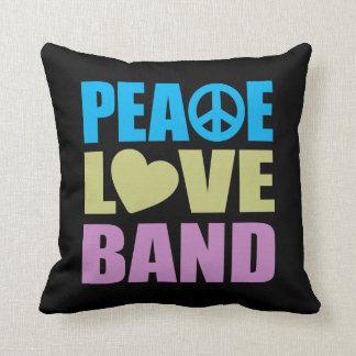 Banda del amor de la paz cojín
