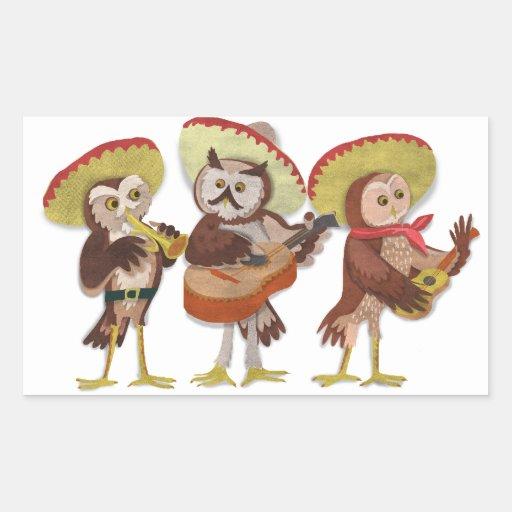 Banda del búho del Mariachi Pegatina Rectangular