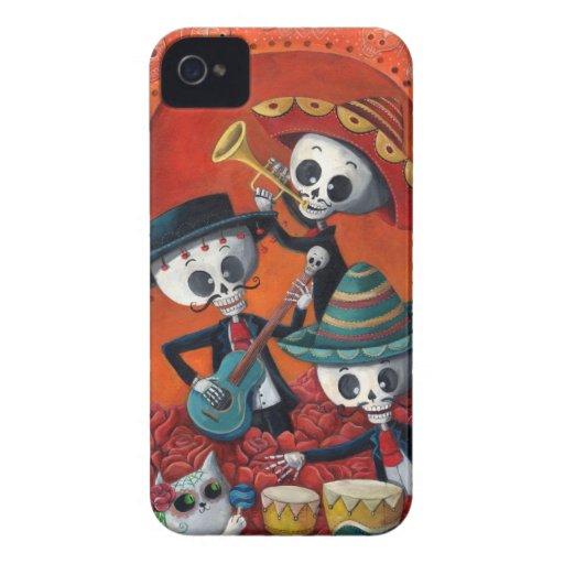 Banda del esqueleto de Dia de Muertos Musical iPhone 4 Protectores