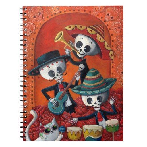 Banda del esqueleto de Dia de Muertos Musical Libretas Espirales