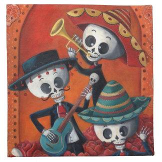 Banda del esqueleto de Dia de Muertos Musical Servilleta Imprimida