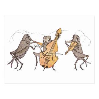 Banda del grillo con el cuerno, el violoncelo y el tarjetas postales