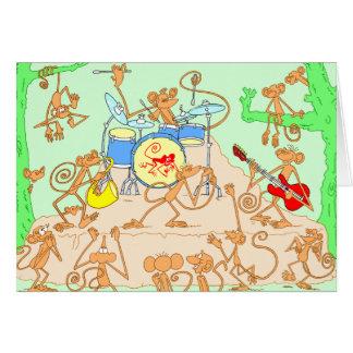 Banda del mono tarjeta de felicitación