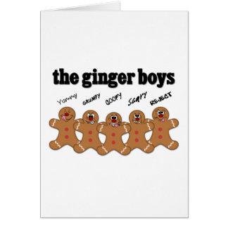 Banda del muchacho del hombre de pan de jengibre tarjeta pequeña