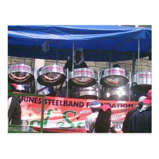 Banda del tambor de acero que juega en carnaval postales