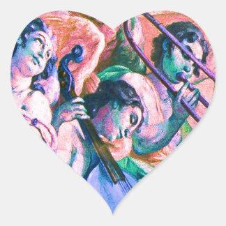 Banda divina de la música pegatina en forma de corazón