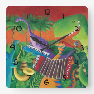 Banda enrrollada del dinosaurio reloj cuadrado