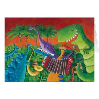 Banda enrrollada del dinosaurio tarjeta de felicitación