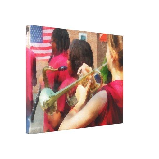 Banda escolar en el desfile lona envuelta para galerias