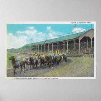 Banda famosa del vaquero en el rodeo poster