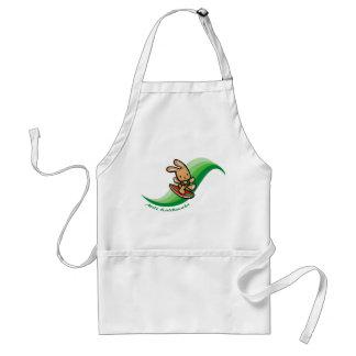 Banda hawaiana del dibujo animado del verde del delantal