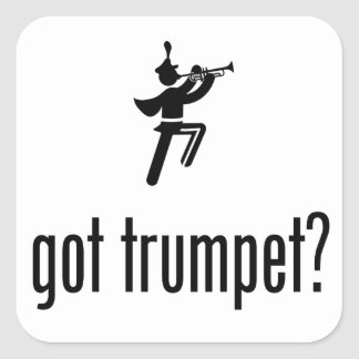 Banda - jugador de trompeta pegatina cuadrada
