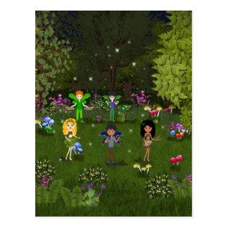 Banda musical del Faerie en bosque encantador Tarjetas Postales