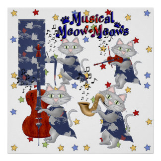 Banda musical del gato de los gatos lindos póster