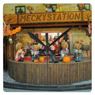 Banda musical del vaquero de los erizos reloj cuadrado