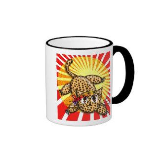 Banda principal del animado del leopardo del arco  tazas de café