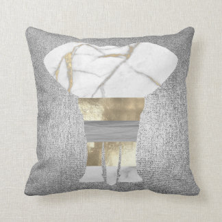Bandage Elephant Conceptual Gray Gold Silver Throw Pillow