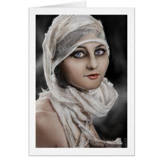 Bandages Classic Vintage retro Potrait Woman paint Card