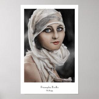 Bandages Classic Vintage retro Potrait Woman paint Poster