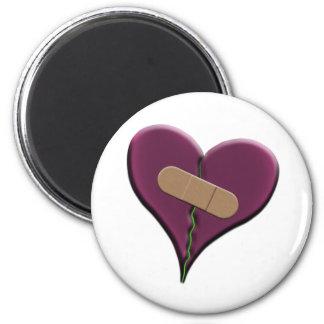 Bandaid Heart 2 Inch Round Magnet