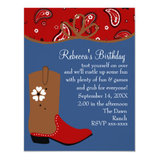 "Bandana and Lasso Cowgirl Birthday 4.25"" X 5.5"" Invitation Card"
