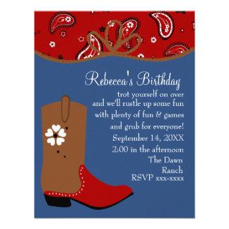 Bandana and Lasso Cowgirl Birthday Invites