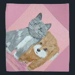 """Bandana BFF<br><div class=""""desc"""">A portrait of a kitten and a puppy against a pink background.</div>"""