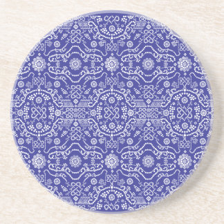 Bandana Blue Pattern Paisley Sandstone Coaster