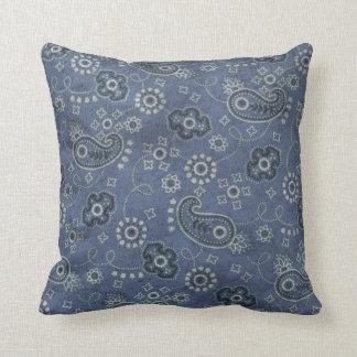 Bandana Blues Throw Pillow