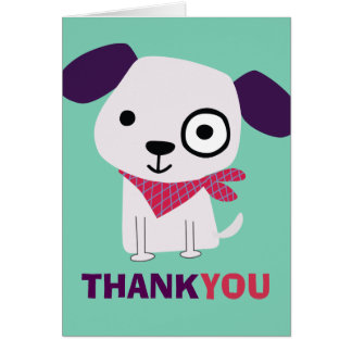 Bandana Doggy, Thank You Card, green Stationery Note Card